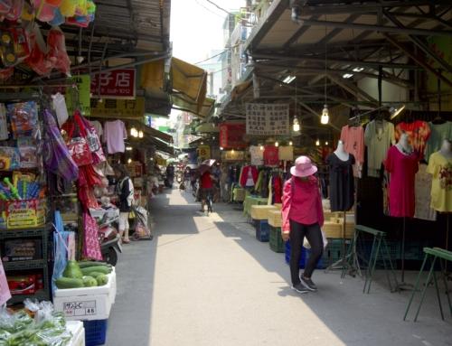 Huge food market in Taipei Brigde, Taiwan